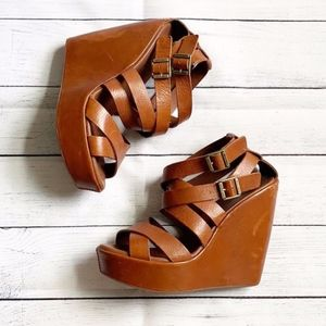Kork-Ease Hailey Brown Leather Strappy Wedges